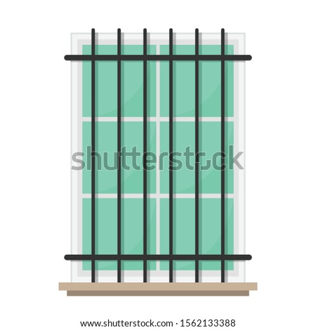 Window vector. window on white background. Glass window. fence window.