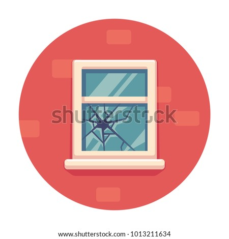 window with broken glass on red