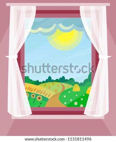 window with curtains summer