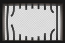 Window with sawed prison bars. Jail break. Isolated on a transparent background. Vector template.