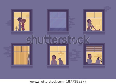 Windows of a night time house with neighbours. Multi-storey building, people spending time staying home to enjoy safe comfortable private, personal life indoors. Vector flat style cartoon illustration Сток-фото ©