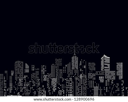 windows on city skylines in black and white