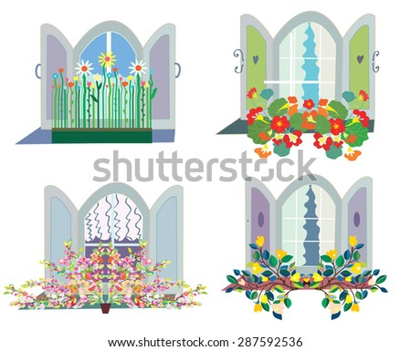 windows with flowers box design