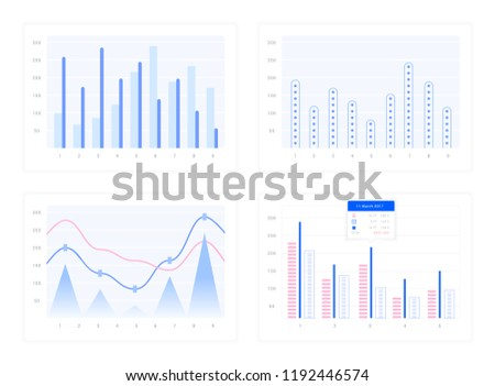 Windows with graphs and charts, set of vector elements for design sites