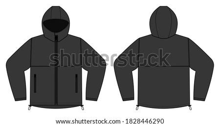 windproof hooded jacket ( parka) vector illustration / black Сток-фото ©