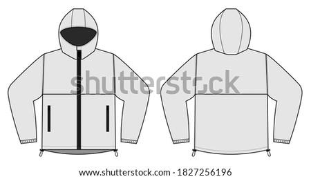 windproof hooded jacket ( parka) vector illustration / white Сток-фото ©