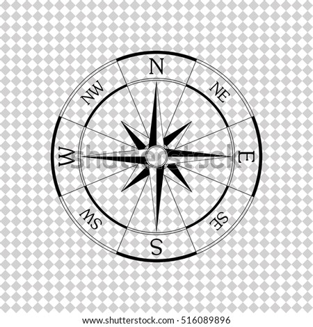 Windrose compass  - black vector icon