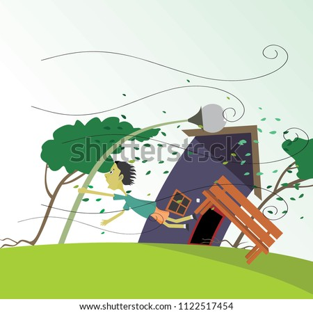 windstorm vector illustration