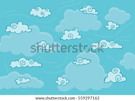 Windy cloud background illustration