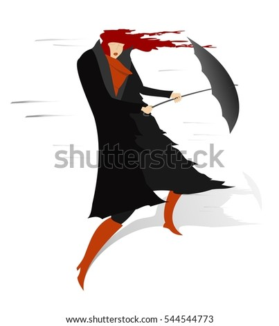 Windy day. Woman with come uncurled hair stays on the wind and tries to hold an umbrella