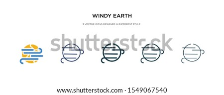 windy earth icon in different style vector illustration. two colored and black windy earth vector icons designed in filled, outline, line and stroke style can be used for web, mobile, ui