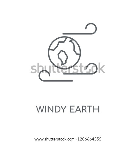 Windy Earth linear icon. Windy Earth concept stroke symbol design. Thin graphic elements vector illustration, outline pattern on a white background, eps 10.