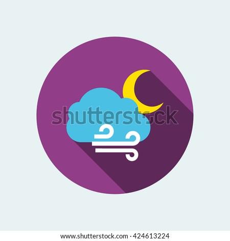 windy night icon. flat windy night icon. windy night vector