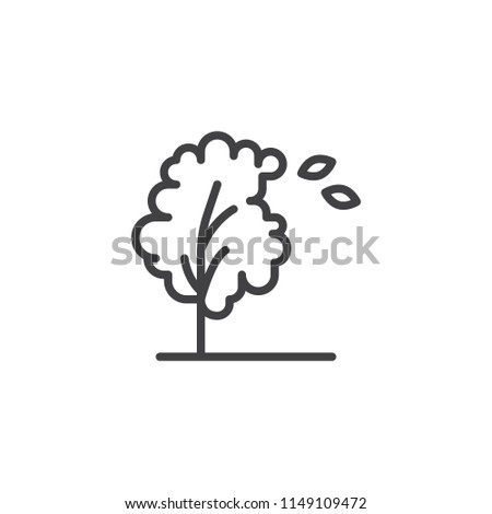 Windy tree and leaves outline icon. linear style sign for mobile concept and web design. Autumn season simple line vector icon. Symbol, logo illustration. Pixel perfect vector graphics