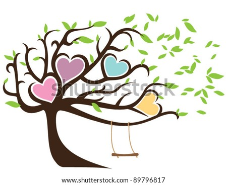 Windy Tree with Green Leaves Framing Four Hearts and Swing - stock ...