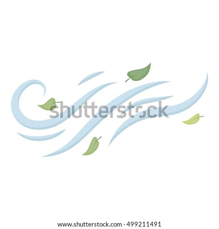 Windy weather icon in cartoon style isolated on white background. Weather symbol stock vector illustration.