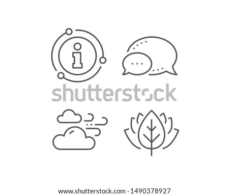 Windy weather line icon. Chat bubble, info sign elements. Clouds with wind sign. Sky symbol. Linear windy weather outline icon. Information bubble. Vector