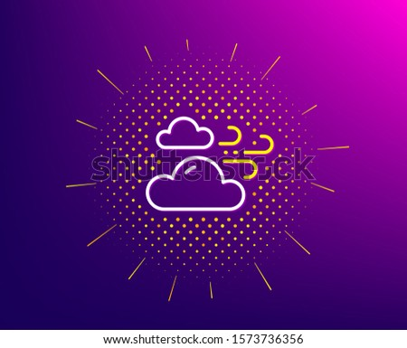 Windy weather line icon. Halftone pattern. Clouds with wind sign. Sky symbol. Gradient background. Windy weather line icon. Yellow halftone pattern. Vector