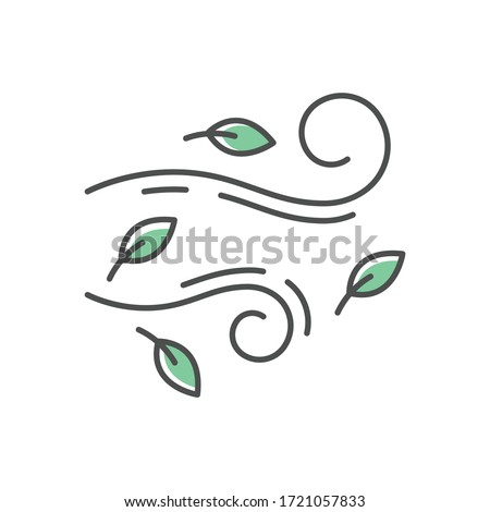 Windy weather RGB color icon. Autumn season meteo forecast, meteorology. Wind speed and strength prediction. Cool breeze with leaves isolated vector illustration