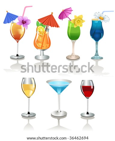 wine and alcoholic cocktails - stock vector