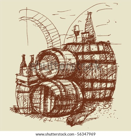 wine and barrels. handmade sketch.