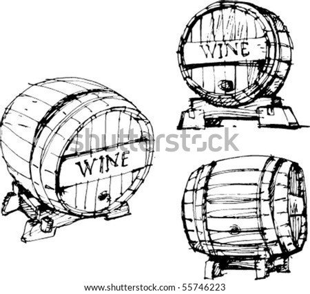 wine and barrels. handmade sketch. vector