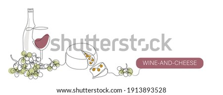 Wine and Cheese vector color illustration, background, banner for label design. One continuous line drawing of local wine with cheese with lettering Wine-and-Cheese. Editable black stroke.