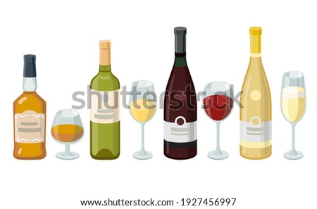 Wine and cognac bottles and wineglasses. Grape product, vector illustration isolated on white background. Foto d'archivio ©