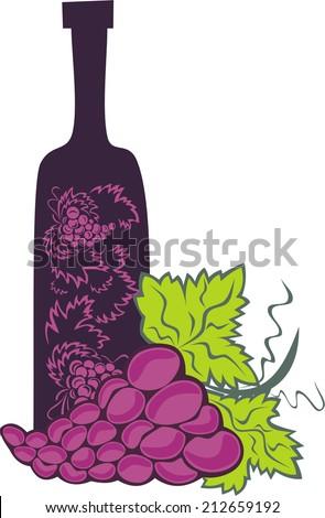 Wine and grape vector illustration