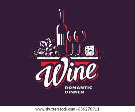 Wine and grapes logo - vector illustration, emblem design.