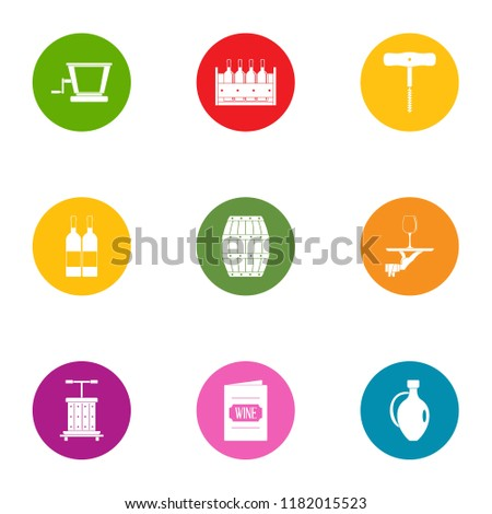 wine book icons set flat set