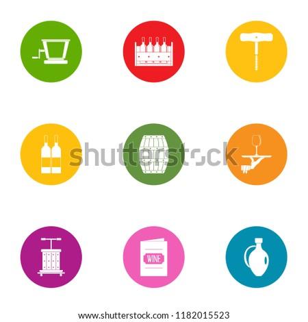 wine book icons set flat set