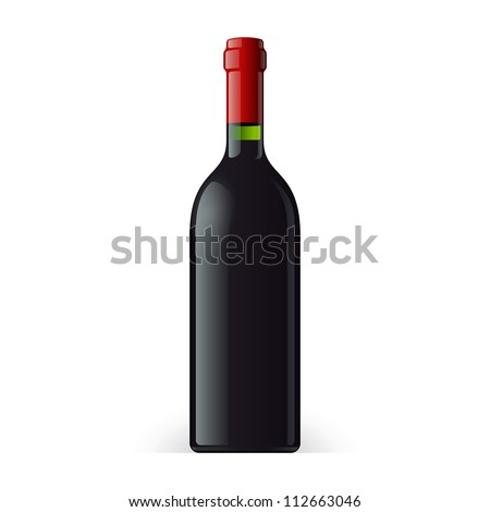 Wine Bottle On White Background Isolated. Ready For Your Design. Product Packing Vector EPS10