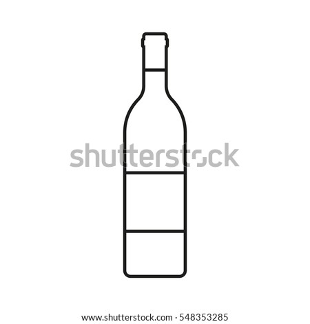 Wine bottle outline icon isolated on white background. Vector illustration.