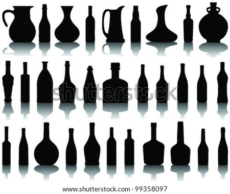 Wine bottle silhouette and shadow