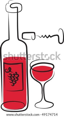 wine bottle, wine glass and opener