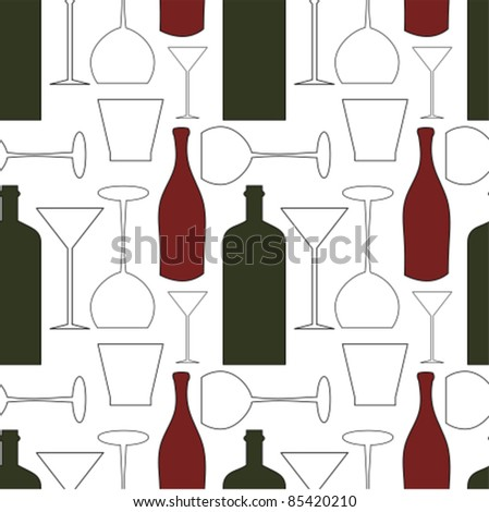 Wine bottles and glasses - seamless pattern background
