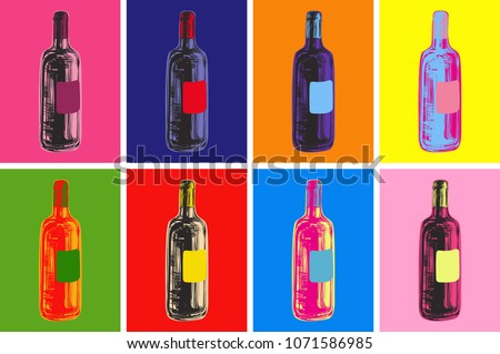 Wine Bottles Hand Drawing Vector Illustration Alcoholic Drink. Pop Art Style.