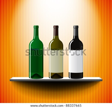 Wine bottles on a lightened shelf