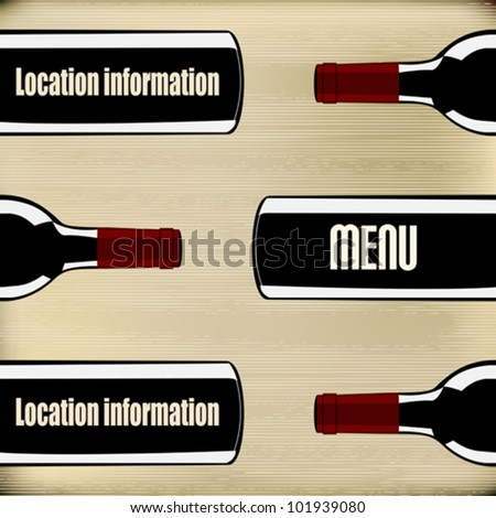 Wine Bottles on a paper texture background for a menu - stock vector
