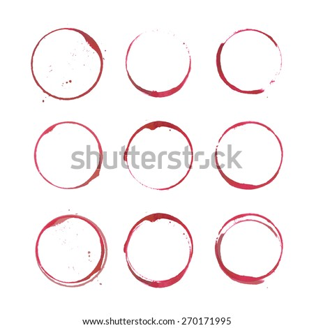 Wine bottom glass ring stains for badge design, realistic vector watercolor