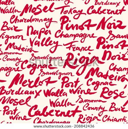 wine calligraphic seamless