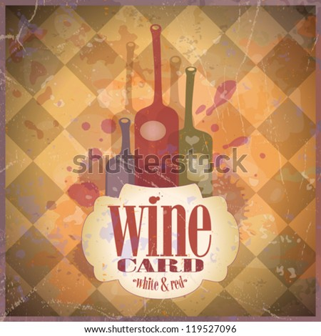 Wine Card design template, retro style. Eps10.