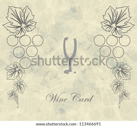wine card with abstract glass background menu restaurant