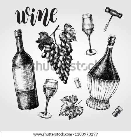 Wine concept set. Bottles, glasses, cork, grape bunch, corkscrew. Ink hand drawn Vector illustration with brush calligraphy style lettering. Drink element for menu design.