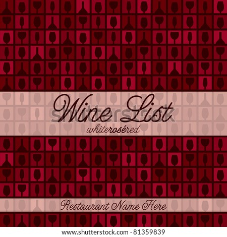 Wine glass and bottle modern mosaic menu with a retro touch in vector format.