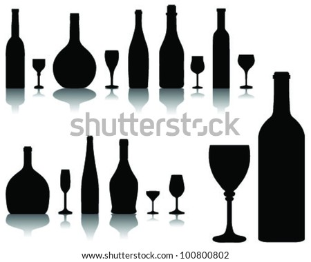 Wine glass and bottle silhouettes and shadows-vector