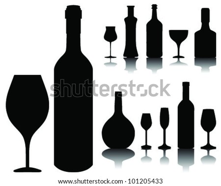 wine glass and bottle silhouettes and shadows, vector - stock vector