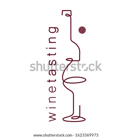Wine glass and bottle. Single line. Drawing in a modern style. Design element for wine tasting, menu, wine list, restaurant, winery, liquor shop, vineyard, booklet, brochure.