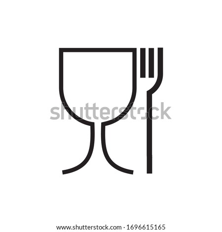Wine glass and fork icon vector illustration sign
